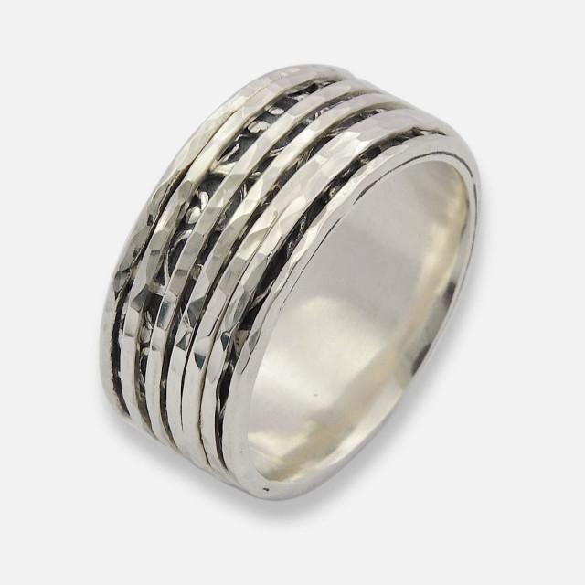 wedding photo - Silver Oxidized Spinner Ring, Silver Spinner Ring, Spinner Ring, Spinner Band, Floral Spinning ring for women, Meditation ring