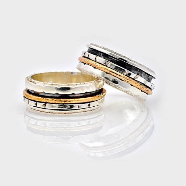 wedding photo - Silver and Gold Oxidized Spinning Ring, gift for her, Dual Band Spinning Ring, Fidget Ring, Unisex Ring, Silver Spinner Ring, Worry Ring