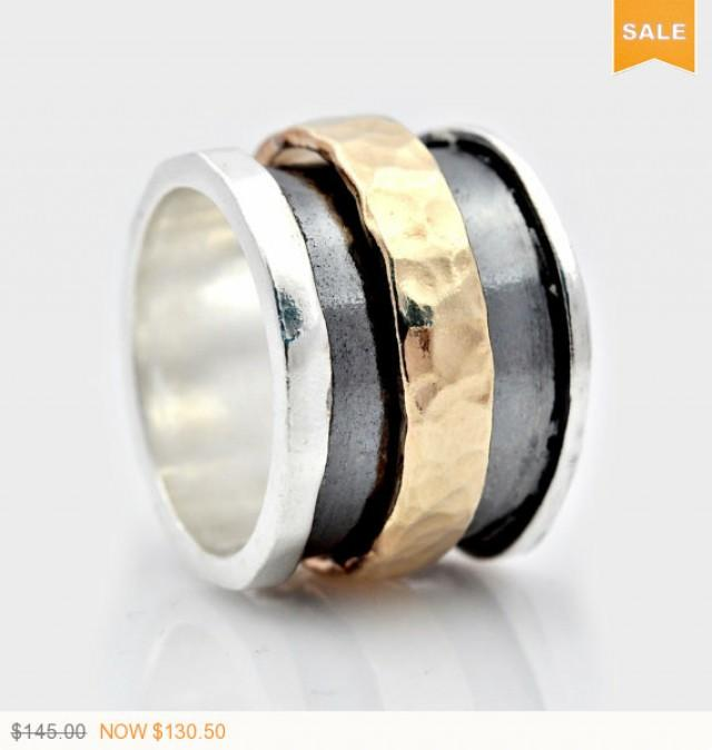 wedding photo - SALE Spinner fidget ring, Handmade Silver and Gold Spinning Ring, Spinning Band, Wide Spinning Ring, Oxidized Spinning Ring, ring for women