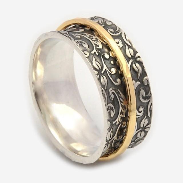 wedding photo - Spinner rings for women, Oxidized floral base, Spinner band, Meditation rings, Nature Inspired ring, Gold spinner ring, Silver wedding rings