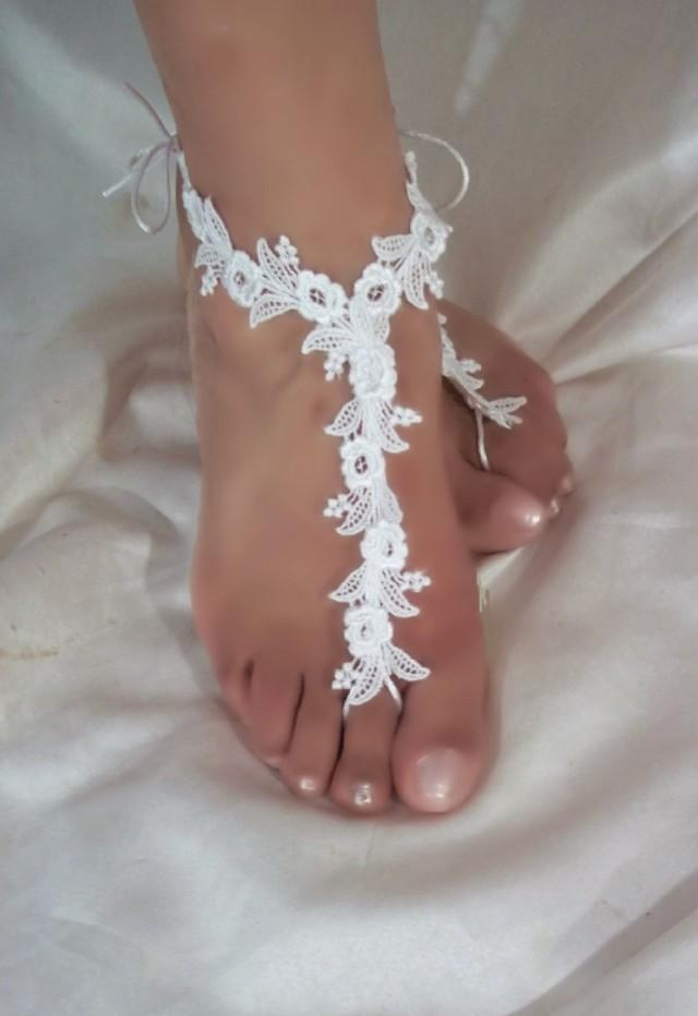 wedding photo - Barefoot Sandals, White Barefoot Sandals, White Lace Barefoot Sandals, Bottomless Sandals, Beach Bride Sandals, Beach Wedding Sandal, Anklet - $14.99 USD