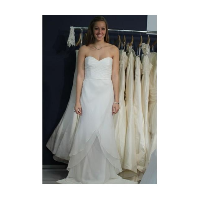 Coren moore fall 2012 strapless layered chiffon a line for Cheap wedding dresses sale