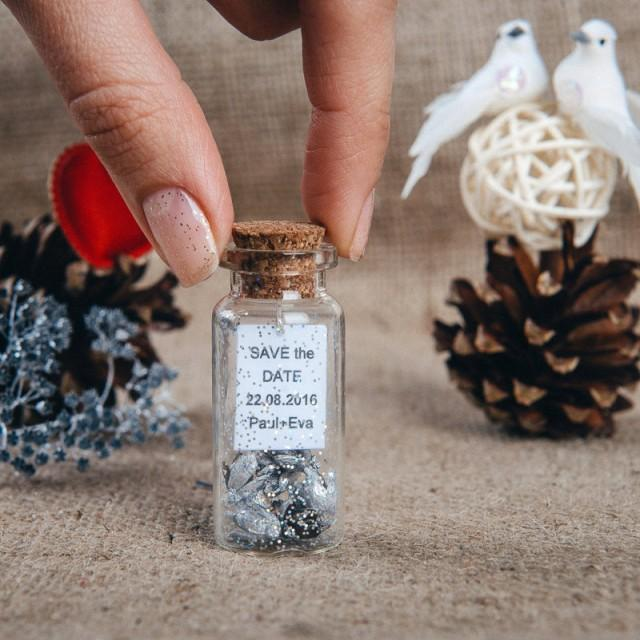 wedding photo - Silver wedding favors Rustic save the date wedding favor bottles Silver vial glass favor Winter wedding Natural favors - $2.19 USD