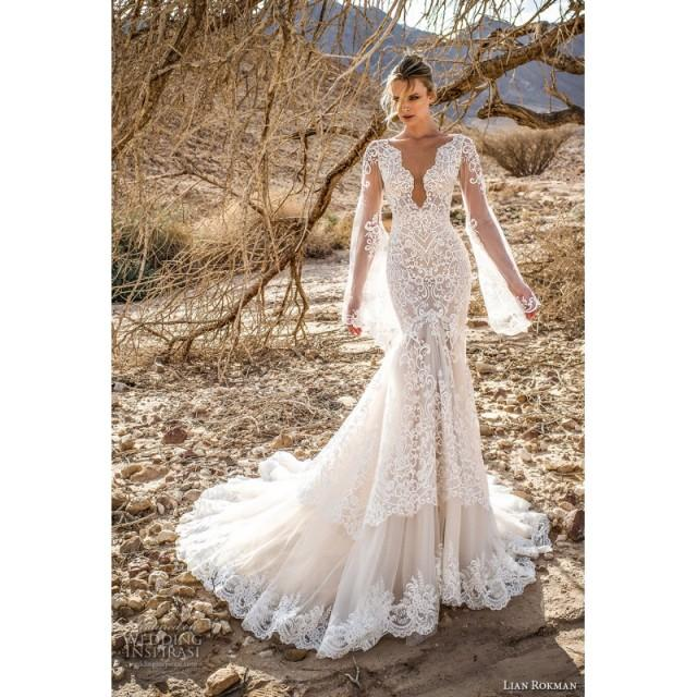 Lian Rokman 2017 Moonlight Mermaid V-Neck Chapel Train Open Back Flare Sleeves Ivory Embroidery Lace Bridal Gown - Charming Wedding Party Dresses