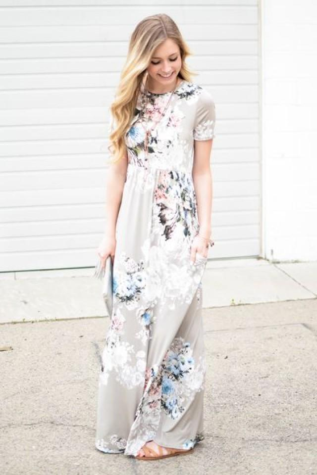 Ann Floral Maxi Dress In Taupe