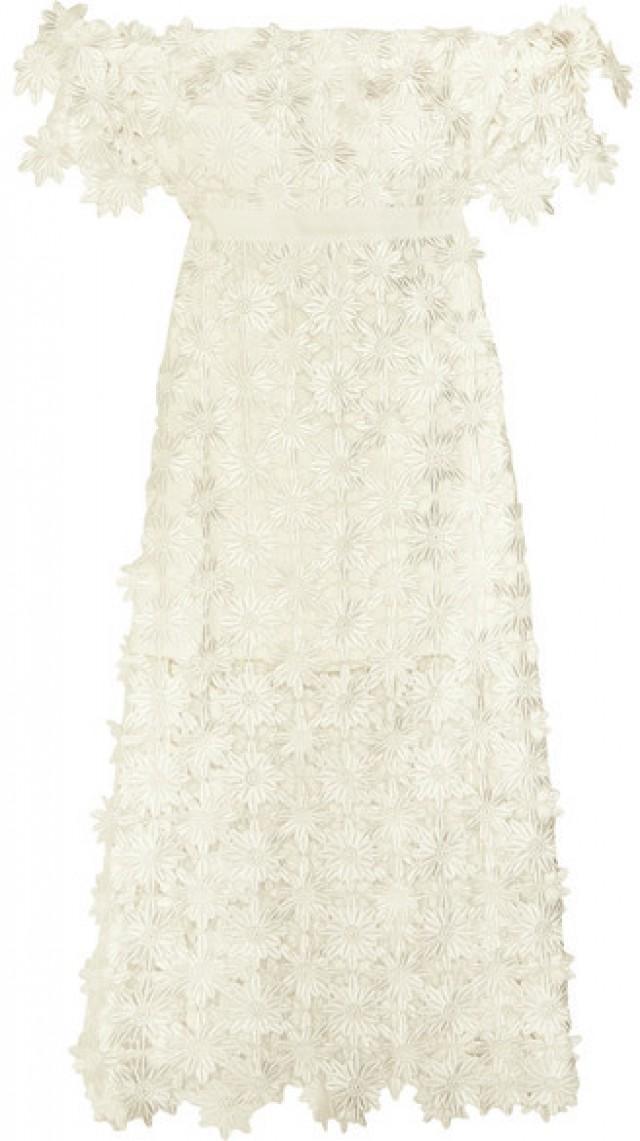Self-Portrait - Off-the-shoulder Guipure Lace Midi Dress - White