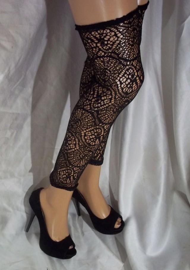 wedding photo - Black Leg Warmers, Thigh Highs, Black Crochet Lace Leg Warmers, Black Leggings
