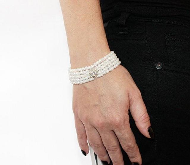 wedding photo - Pearl Embroidered Bracelet, Pearl Cuff, Pearl Bracalet, Gift Ideas