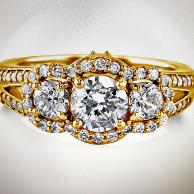 wedding photo - A Perfect 1CT Round Cut Lab Diamond Engagement Anniversary Ring