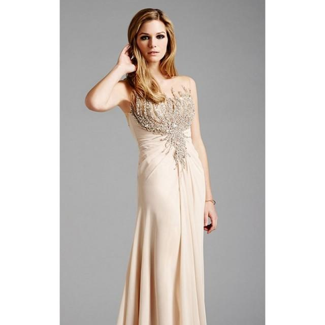 wedding photo - Champagne Embellished Beaded Gown by Lara Designs - Color Your Classy Wardrobe