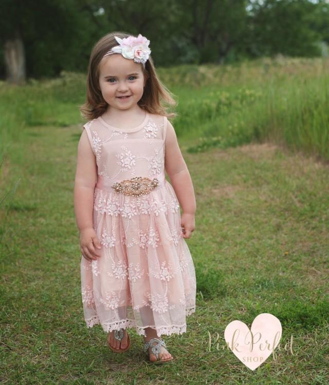 wedding photo - Flower Girl dress, rustic lace flower girl dress,girls lace dress, Blush formal flower girl dress, baby toddler girl, country flower girl