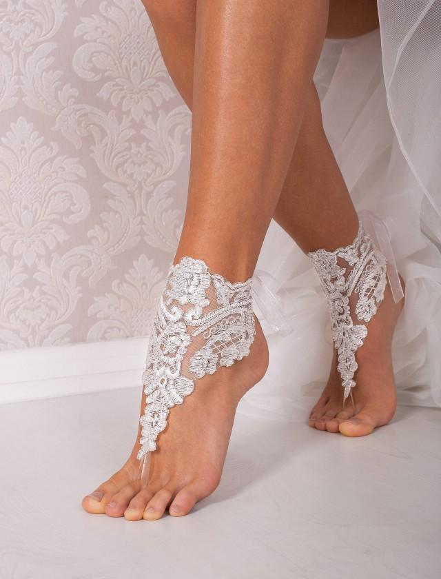 Lace Barefoot Sandals, Bridal Footless Shoes, Beach Wedding Shoes ...