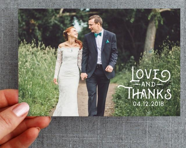 "50+ Wedding Thank you card, with photo, vintage, woodland, 4x6 inch ""Eden Marie Style"""