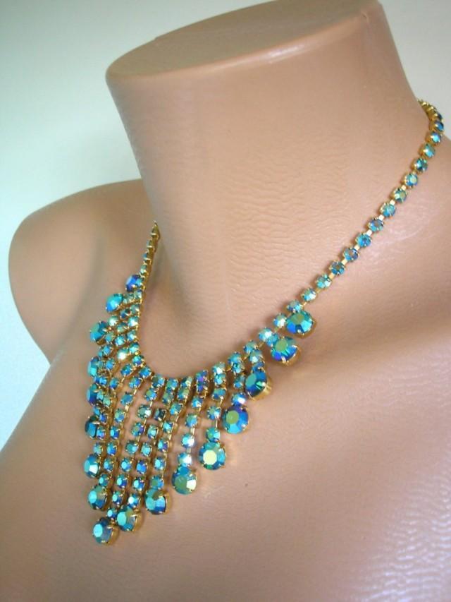 wedding photo - Peacock Blue/Green Rhinestone Necklace