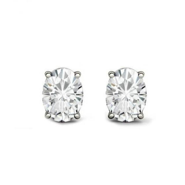 wedding photo - Raven Fine Jewelers, 2.00 Carat TW Oval Forever One Moissanite Stud Earrings, 7x5mm Anniversary Gifts for Women, Fine Jewelry Gifts Custom Jewelers, Christmas - $1589.00 USD