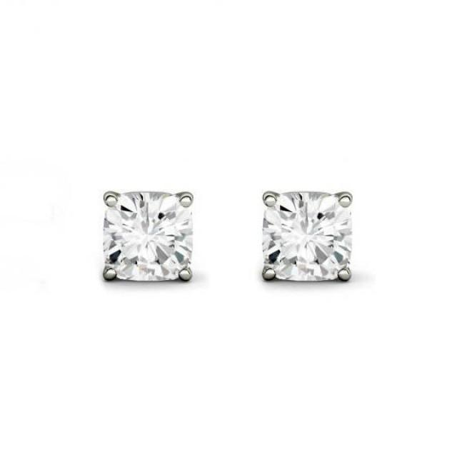 wedding photo - Raven Fine Jewelers, 4.00 Carat TW Cushion Forever One Moissanite Stud Earrings, 7.5mm Anniversary Gifts for Women, Fine Jewelry Gifts Custom Jewelers, Christmas - $2720.00 USD