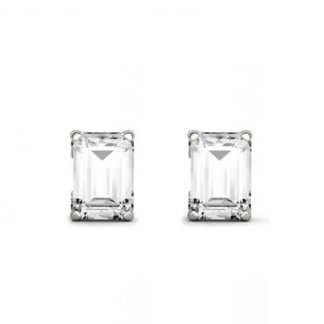 wedding photo - 2.00 carats tw. Emerald Forever One Moissanite Stud Earrings 14k White Gold 1.00 Carat Each, Moissanite Earrings, 7x5mm Emerald Four Prong - $1725.00 USD