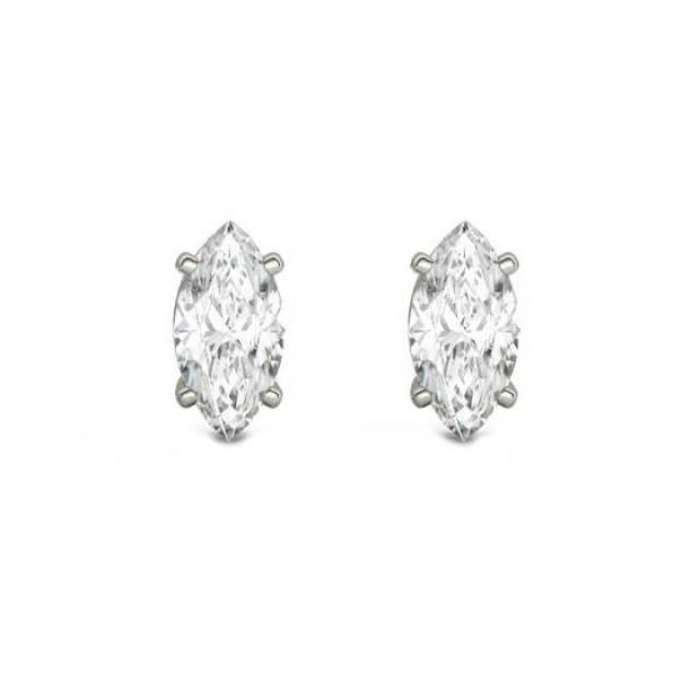 wedding photo - 0.80 Carat TW Marquise Diamond Stud Earrings, GIA Diamonds, Anniversary Gifts for Women, Fine Jewelry Gifts, Custom Jewelers, Christmas - $2385.00 USD
