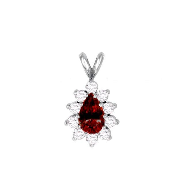 wedding photo - Raven Fine Jewelers, 7x5mm Pear Red Garnet & Diamond Halo Pendant Necklace, Anniversary Gifts for Women, Fine Jewelry Gifts, Custom Jewelers, Christmas - $1765.00 USD