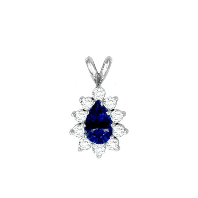 wedding photo - Raven Fine Jewelers, 7x5mm Pear Blue Sapphire & Diamond Halo Pendant Necklace, Anniversary Gifts for Women, Fine Jewelry Gifts, Custom Jewelers, Christmas - $2575.00 USD