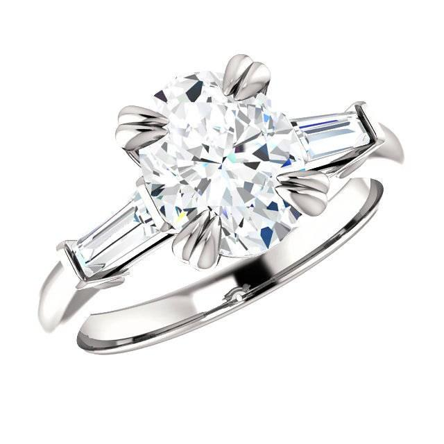 wedding photo - Raven Fine Jewelers, 3 Carat Oval Cut Forever One Moissanite & Tapered Baguette Diamond Engagement Ring, Moissanite Rings, Double Claw Prongs, Handmade Rings - $3445.00 USD