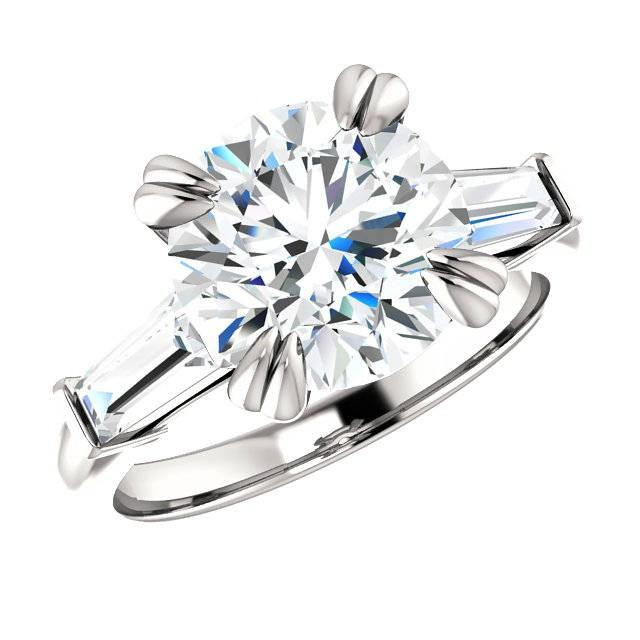 wedding photo - 3.50 Carat Round Cut Forever One Moissanite & Tapered Baguette Diamond Engagement Ring, Moissanite Rings, Double Claw Prongs, Handmade Rings - $3825.00 USD