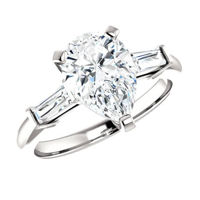 wedding photo - Raven Fine Jewelers, 2.10 Carat Pear Cut Forever One Moissanite & Tapered Baguette Diamond Engagement Ring, Pear Cut Rings, Moissanite Rings, Handmade Rings - $3195.00 USD