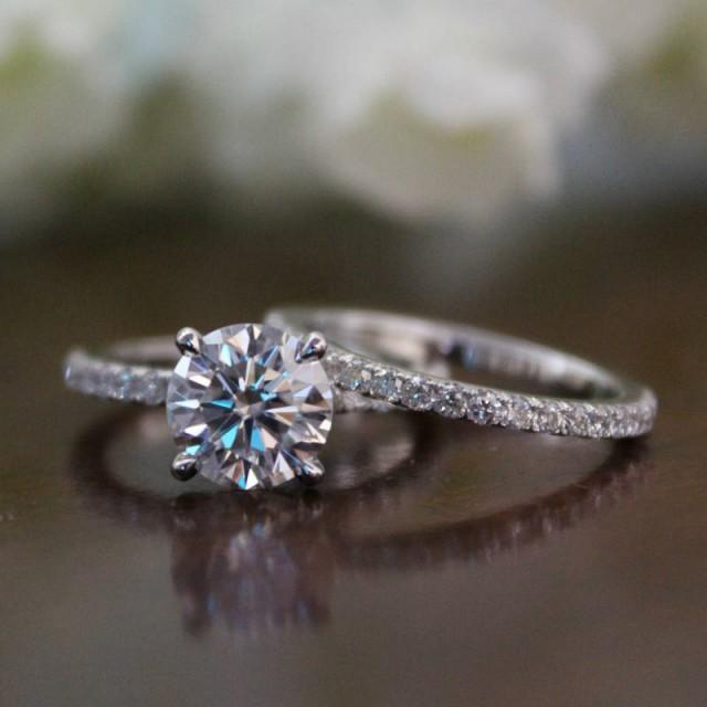wedding photo - 8.5mm Round Forever One Moissanite & Diamond Hidden Halo 14k Yellow/White Gold Engagement Ring Wedding Set Bridal Sets for Women Two Tone - $3740.00 USD