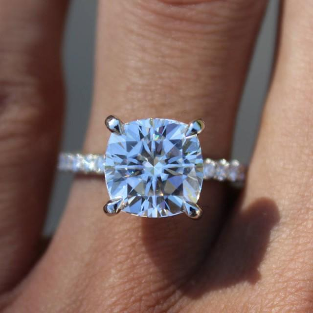 wedding photo - Raven Fine Jewelers, 4 Carat Cushion Cut Forever One Moissanite & Diamond Hidden Halo Engagement Ring in Platinum, Anniversary Rings for Women 4ct Cushion Cut - $4255.00 USD