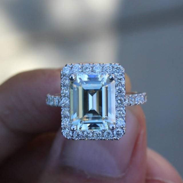wedding photo - 3.50 carat Forever One Moissanite Engagement Ring 14k White Gold - Emerald Cut - Diamond Halo Engagement Wedding Rings for Women - $3245.00 USD