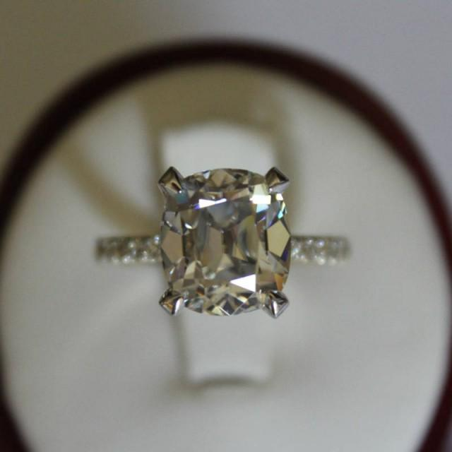 wedding photo - Raven Fine Jewelers, 4.20 Carat Antique Cushion Moissanite & Diamond Engagement Ring 14k Two Tone, Yellow and White Gold, Anniversary Rings, Old Mine Cushion - $3575.00 USD