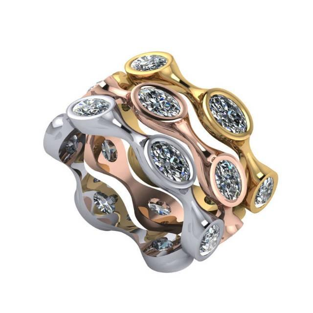 wedding photo - Bezel-Set Oval Diamond Eternity Stackable Band, Stacking Rings, Stackable Rings for Women, Tri Color, Rose White and Yellow Gold, Ring Set - $3775.00 USD