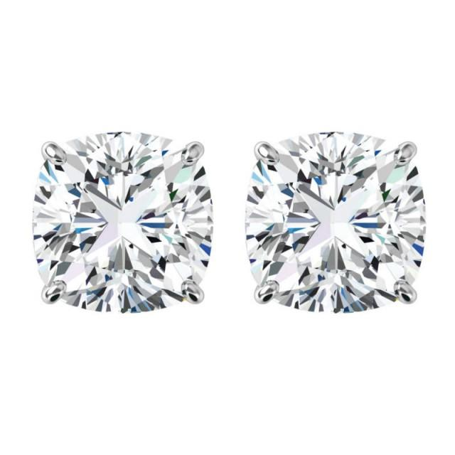 wedding photo - 10 carats tw. Cushion Forever One Moissanite Stud Earrings 14k White Gold, 5.00 Carat Each, Moissanite Earrings 10mm, Anniversary Gifts - $6520.00 USD