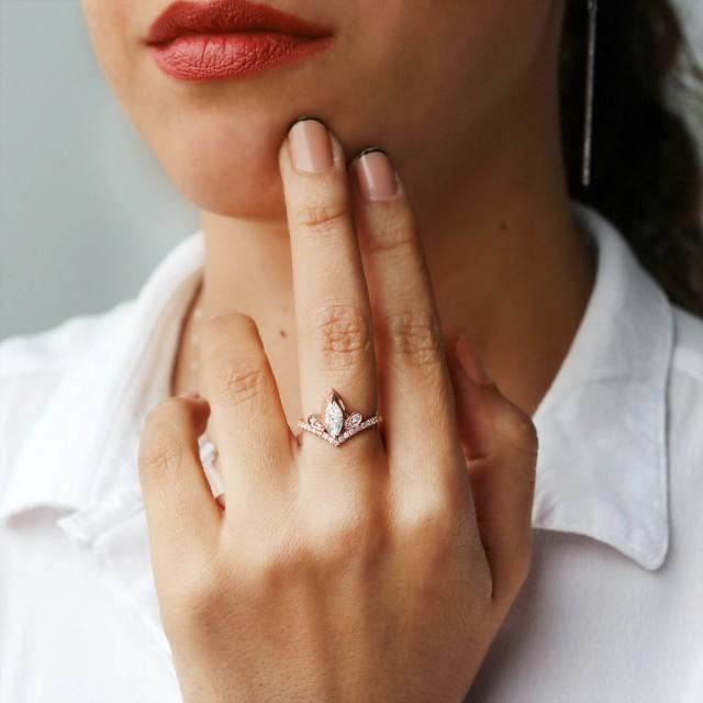 wedding photo - SALE Marquise Diamond Unique Tiara Engagement Ring, 14K Rose Gold, Size 7, Gift For Her - Valentine's Day - $1990.00 USD