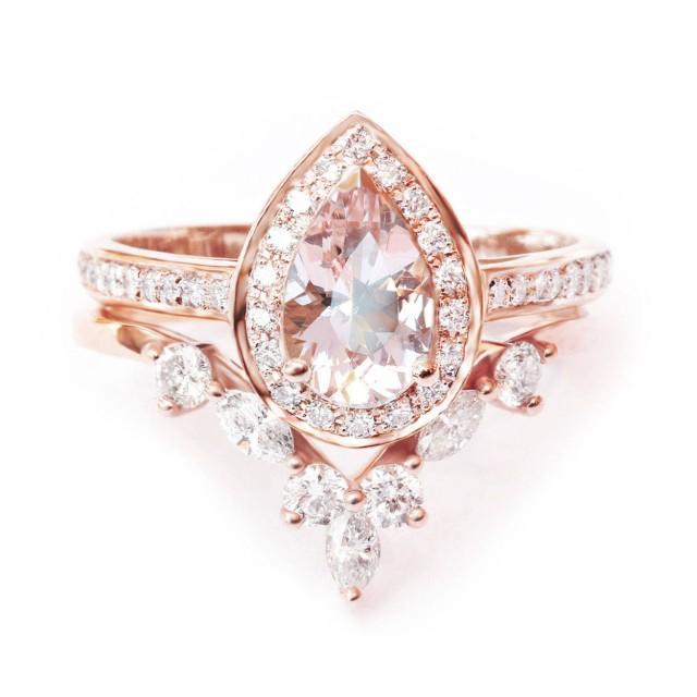 wedding photo - Pear Morganite Halo Engagement Ring   Wedding Ring, 14k or 18k Gold Morganite Bridal Set, Art Deco Set, Matching Diamond Side Band - $1568.00 USD