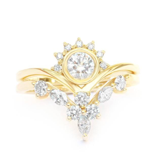wedding photo - Diamond Crown Rings Bridal Set, Art-Deco Engagement Ring   Matching Side Band - Marquise Diamond Wedding Ring - Chevron V-Ring - $1995.00 USD
