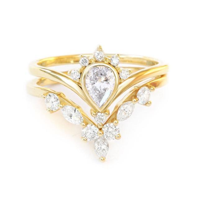 wedding photo - 1/2 Ct Natural Diamonds Bridal Rings Set, Pear Diamond Engagement Ring SUNRISE Marquise Diamonds Side Band HERMES V Ring, 14K/18K Solid Gold - $1990.00 USD
