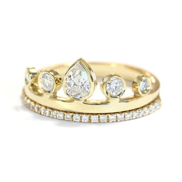 wedding photo - Pear Diamond Crown Engagement Ring with matching Eternity Ring - Unique Engagement Rings - Pear Shaped Diamond - Crown Ring. - $1855.00 USD