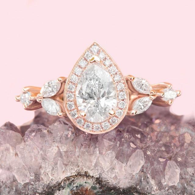 wedding photo - Natural Diamond 1 Carat Engagement Ring; Pear Diamond Halo Engagement Ring, Pave Band; GIA Certified Diamond Unique Designer Fantasy Ring - $5780.00 USD