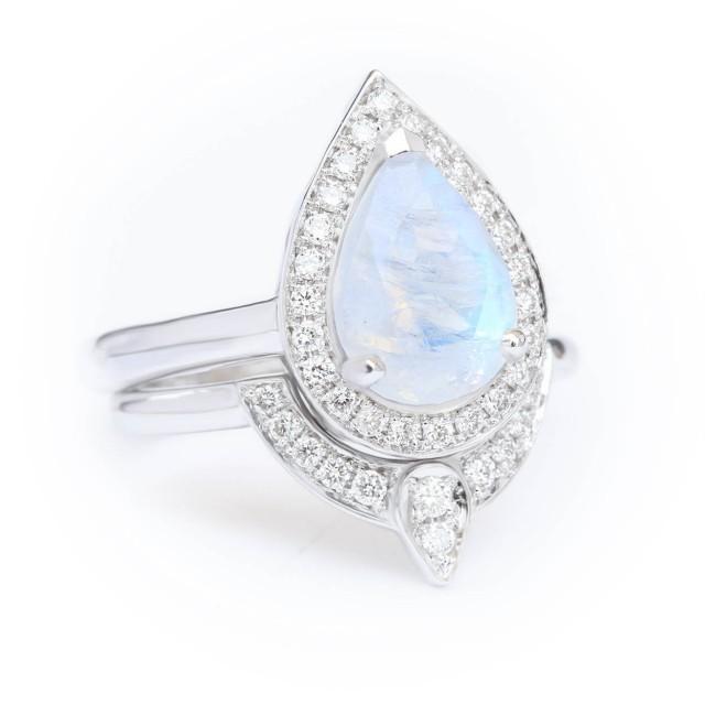 wedding photo - Moonstone diamond engagement rings set 14K White Gold, Size 5.25 - READY to ship - $950.00 USD