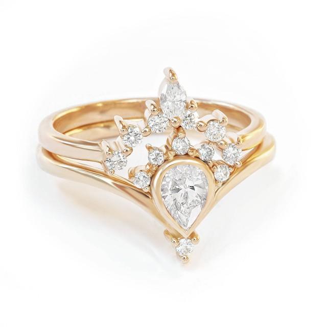 wedding photo - Pear Diamond Engagement Ring Nesting Side Band Rings Set, Diamond Wedding Set, Sunrise Romi Bridal Set, 14K/18K Gold Pear Ring Marquise Band - $1720.00 USD