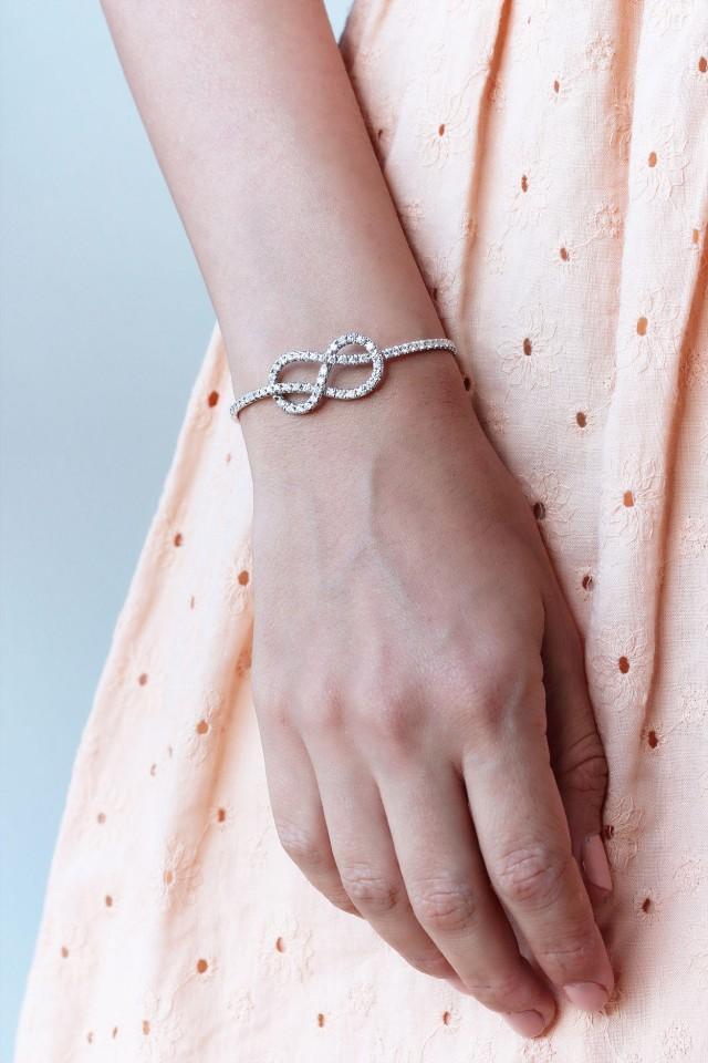 wedding photo - Infinity Knot Diamond Tennis Bracelet; Diamond Infinity BangleBracelet; Diamond Cuff Bracelet, Knot Bracelet 14K/18K Rose/Yellow/White Gold - $3322.00 USD