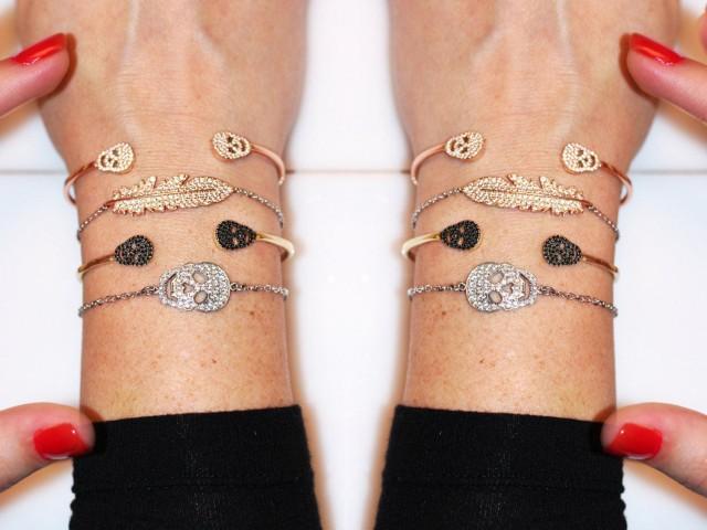 wedding photo - Diamond Skull Bangle Bracelet, Open Cuff Bracelet White/Black Diamond Bangle, White Gold/Rose Gold/Yellow Gold Cuff Bracelet For Him/For Her - $1295.00 USD