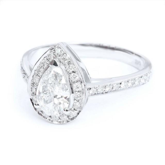 wedding photo - Natural Pear Cut Diamond Engagement Ring, Pear Diamond Halo Ring, Diamond Pave Band Pear Halo Ring, 3/4 Carat Diamond Ring, Solid Gold 14K - $2980.00 USD
