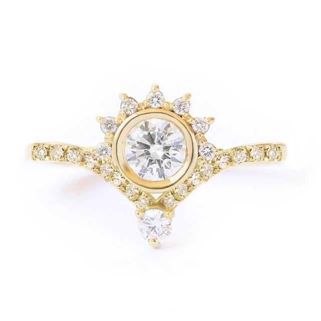 wedding photo - Unique Crown Diamond Engagement ring, 0.45ct, Crown Engagement Ring Valentia Eternity Engagement Ring 14K White Gold Ring - $1485.00 USD