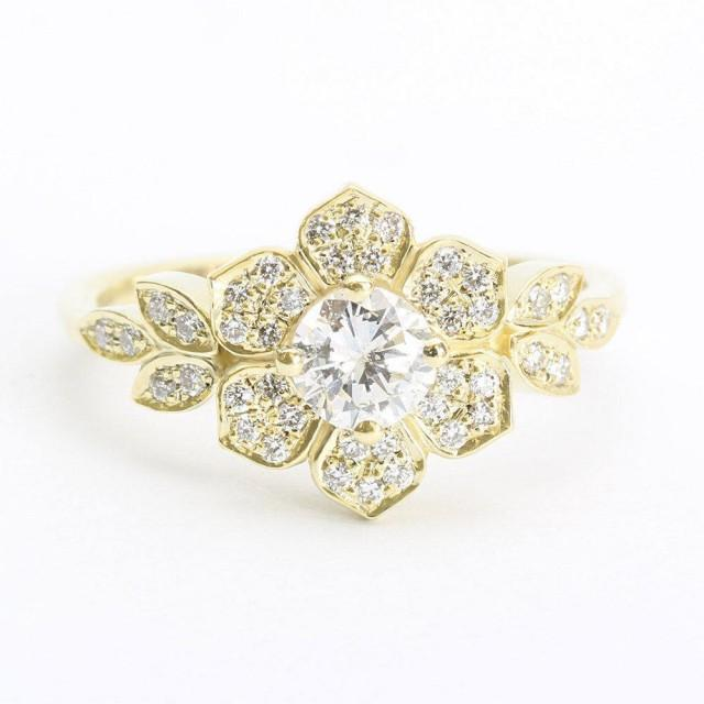 wedding photo - Delicate Lily Ring, Art Deco Flower Ring, Rose Gold Engagement Ring, Vintage Rings, 0.45CT Diamond Ring, Unique Leaf Ring - $1815.00 USD