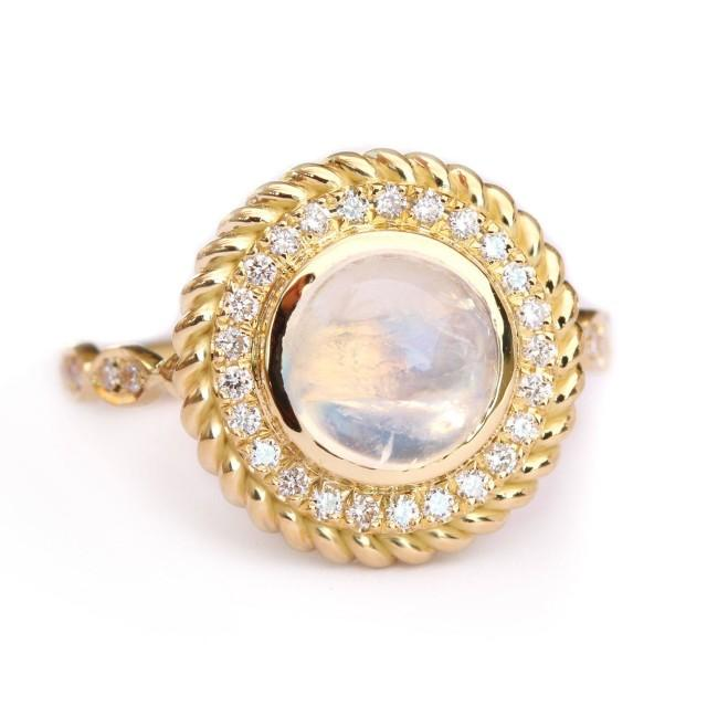 wedding photo - Moonstone Ring, Natural Diamond Halo Statement Ring, Moonstone & Diamonds Cocktail Ring, 14K Yellow Gold Vintage Look Ring Size 7 Selectable - $950.00 USD