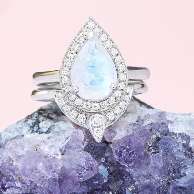 wedding photo - Moonstone Engagement Ring, Gold Moonstone Ring, Engagement Moonstone ring, Birthstone Ring, Pear Moonstone Ring, 14K White Gold Ring - $995.00 USD