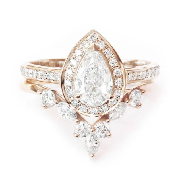 wedding photo - Pear Diamond Halo Engagement Ring   Matching Marquise Crown Ring Side Band, 14k or 18k Gold Diamond Bridal Set, Diamond Engaement Set - $4400.00 USD