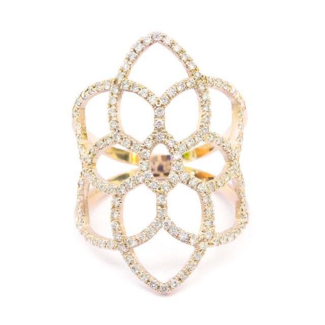 wedding photo - Dream Catcher Diamond Ring, Diamond Pave Lace Ring, Wide Diamond Fantasy Ring, Right Hand Ring, Pave Ring 14K/18K Rose/Yellow/White Gold - $1560.00 USD